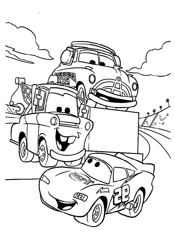 Tow Mater Say Hallo To Mcqueen Coloring Pages Color Luna Buku Mewarnai Halaman Mewarnai Disney Cars