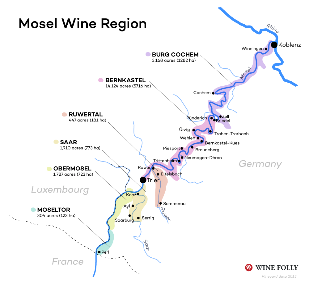 The Mosel Valley Wine Guide Wine Wine Education And Beverage - Germany vineyards map
