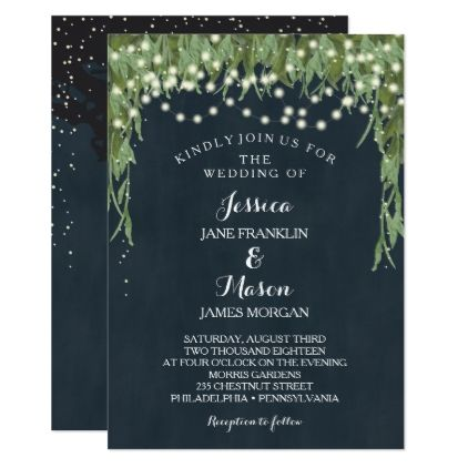 Rustic String Lights Wedding Invitation Navy Gifts Ideas Customize Personalize