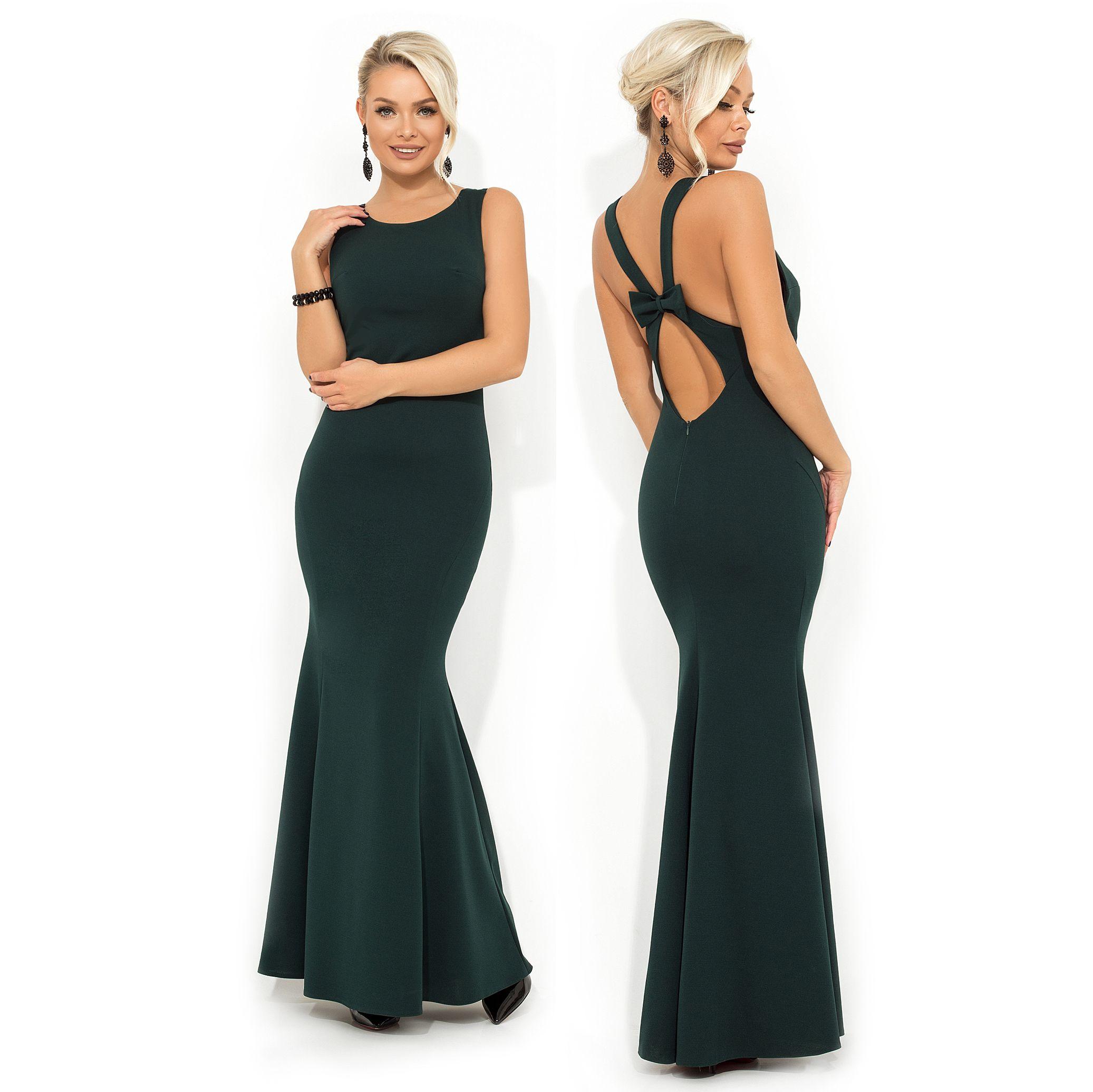 66eedce3de5e Вечернее платье покроя-русалка с несъемным бантиком на открытой спинке