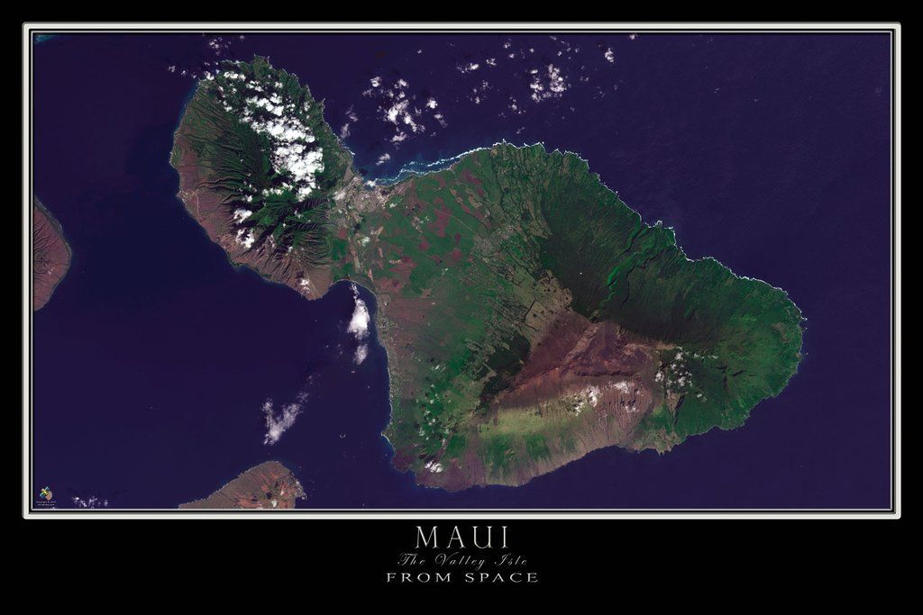 The Maui Island Hawaii Satellite Poster Map Maui Island Hawaii Maui Map Poster