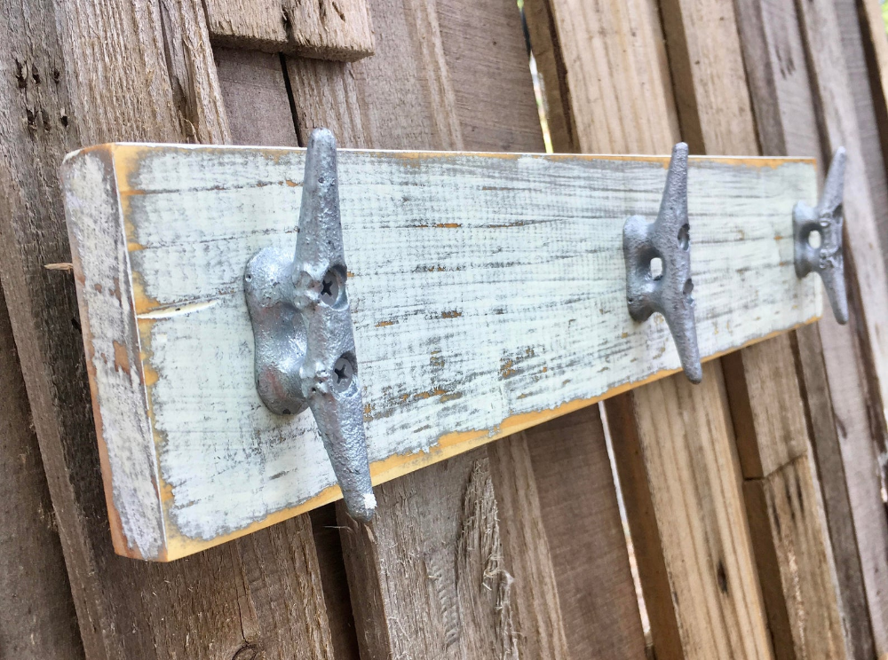 Boat Cleat Coat Rack Nautical Towel Rack Book Bag Rack Hat Rack Key Rack Nautical Distressed White Over Gray In 2020 With Images Nautical Towel Boat Cleats Bag Rack