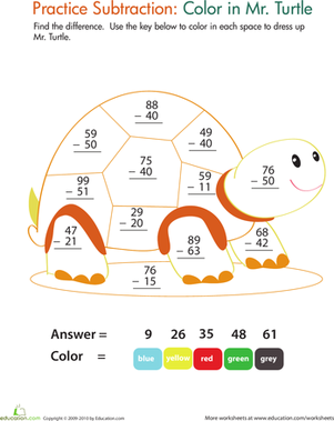 Color by Number: Practice Two-Digit Subtraction 9 | Coloring ...