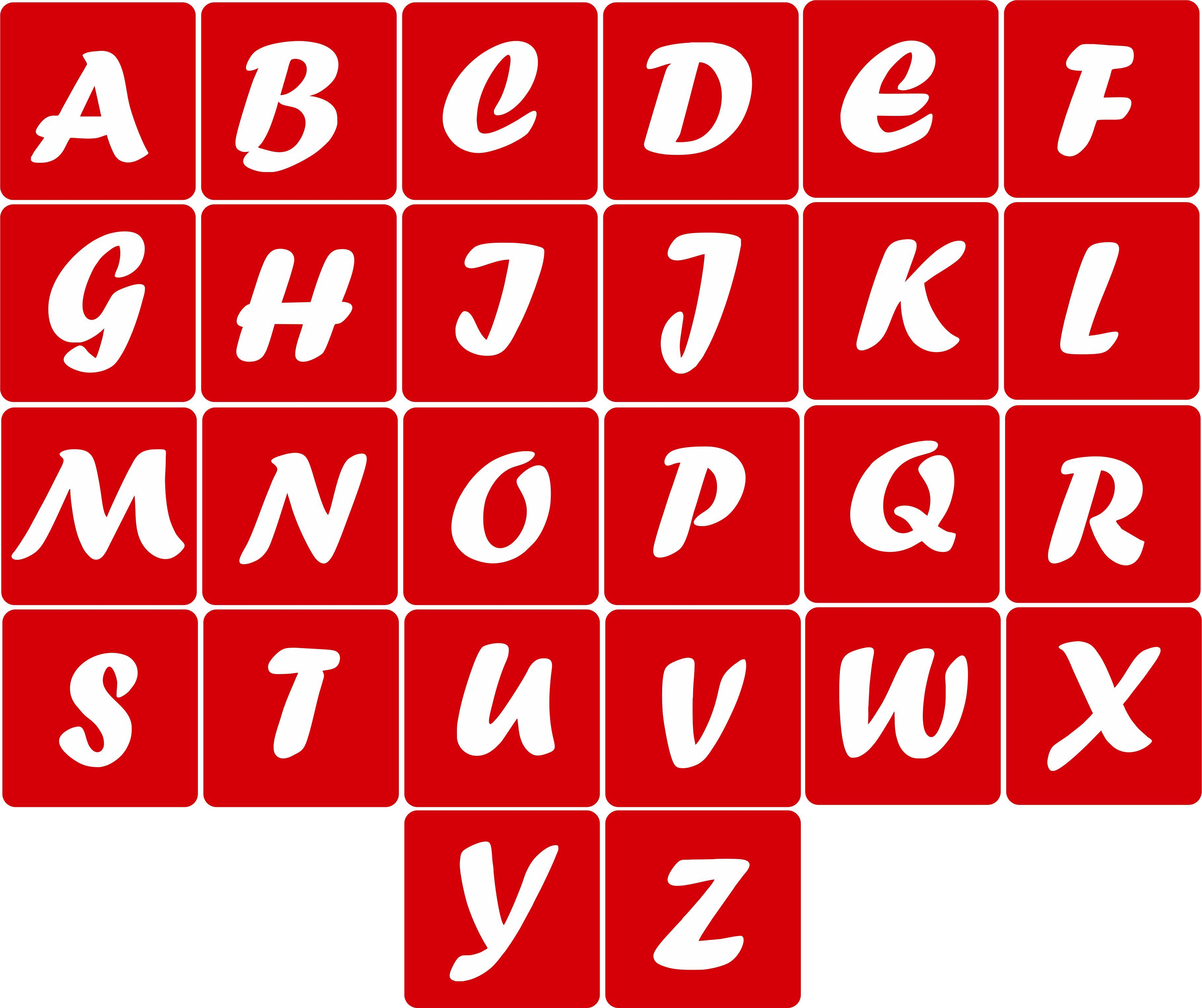 CODE A107. NAME Aphabet Stencil (Forte Font) SIZE 5cm