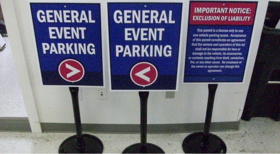 Exterior Wayfinding Temporary Event Parking Signage And Notice Of