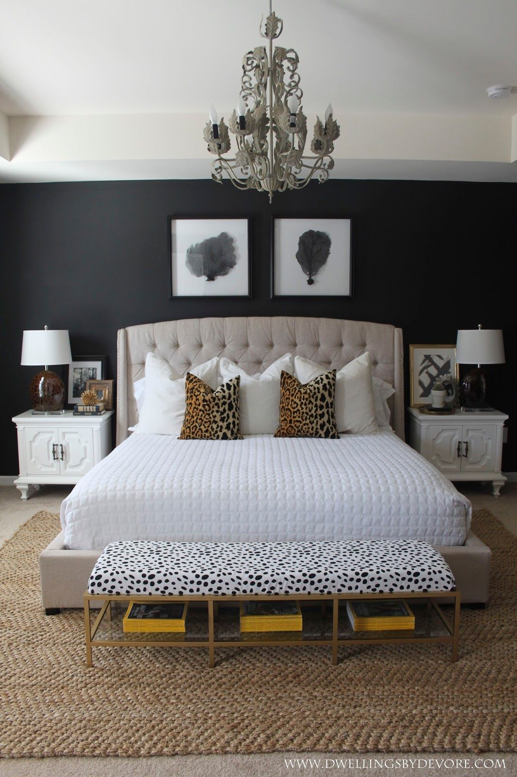 modern bedroom designs%0A Chic master bedroom design  A black accent wall is a glam touch in this  neutral