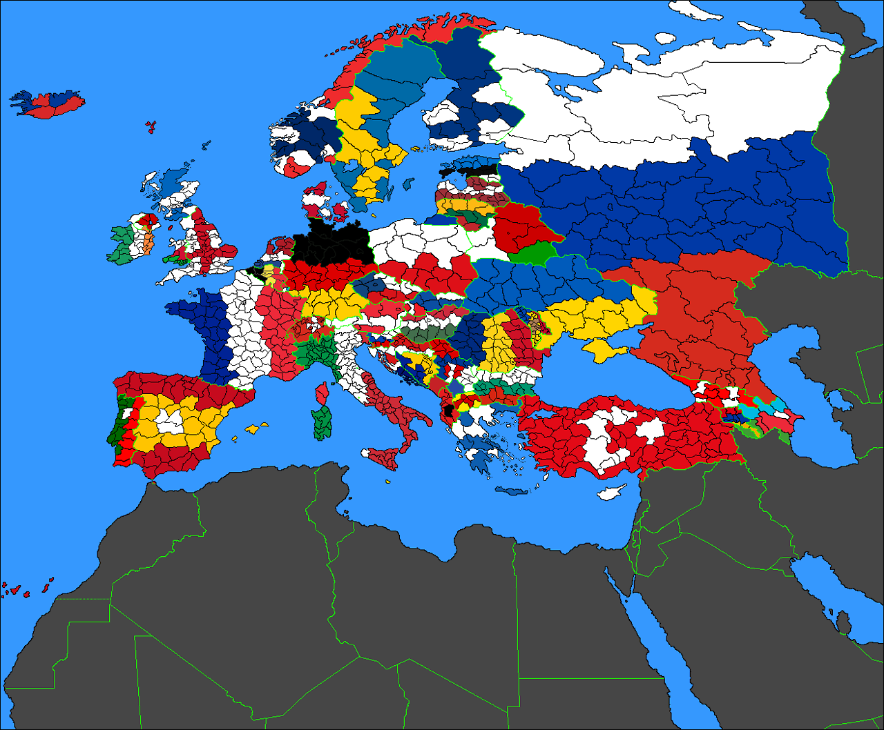 Flag Map of Europe Colored by Political