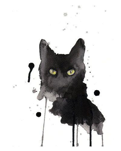 Black cat watercolor print 8x10 archival giclee por artillia
