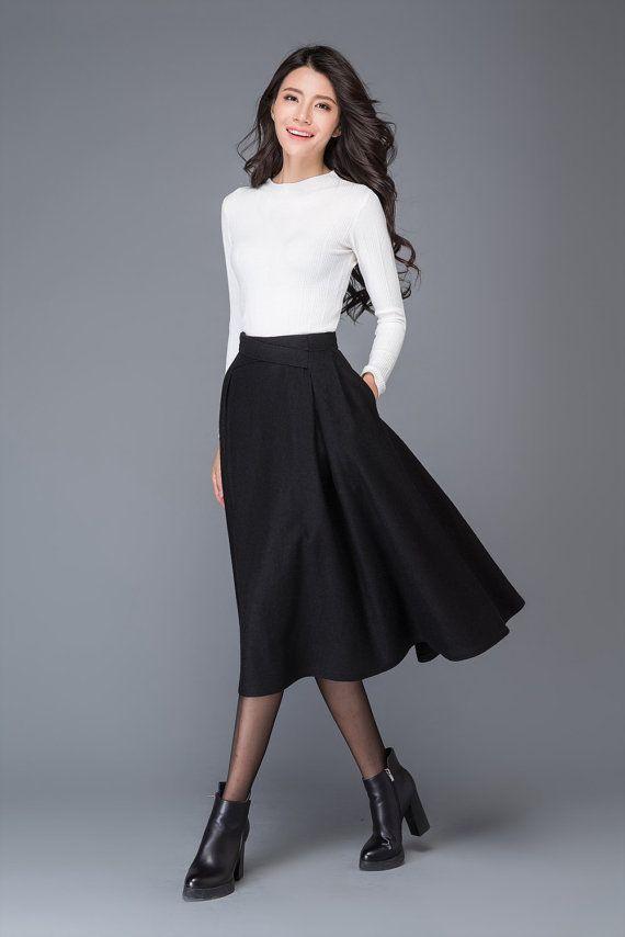 Jupe Plissee Laine Jupe Vintage Midi Jupe Jupe Par Yl1dress Warm Skirts Tea Length Skirt Midi Skirt Outfit