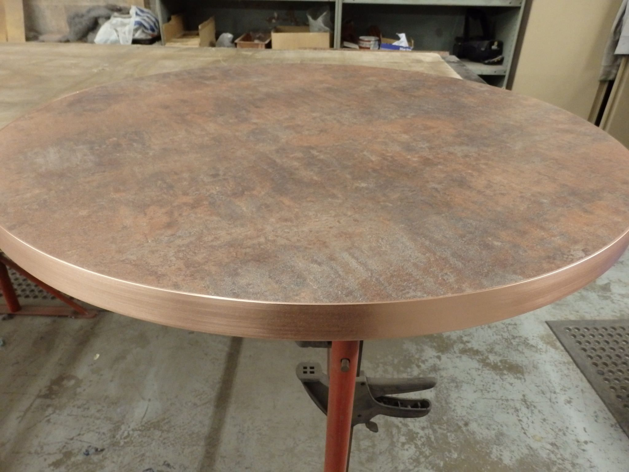 129 Copper Banded Timber Table Top Copper Interior Copper Top