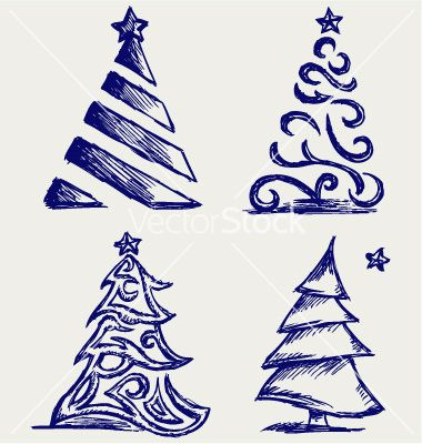 Abstract Christmas Tree Vector Image On Vectorstock Christmas Tree Art Christmas Tree Drawing Christmas Drawing