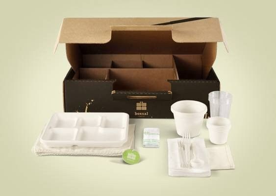 Boxsal 100% recyclable/compostable picnic box with its accessories... tech to minimize your footprint