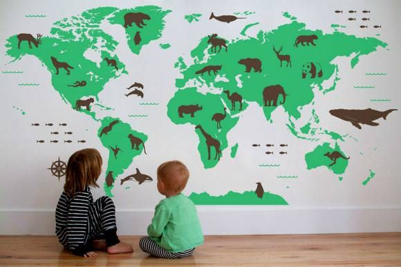 World Map Wall Decal with Animals by Wall Decal on Etsy