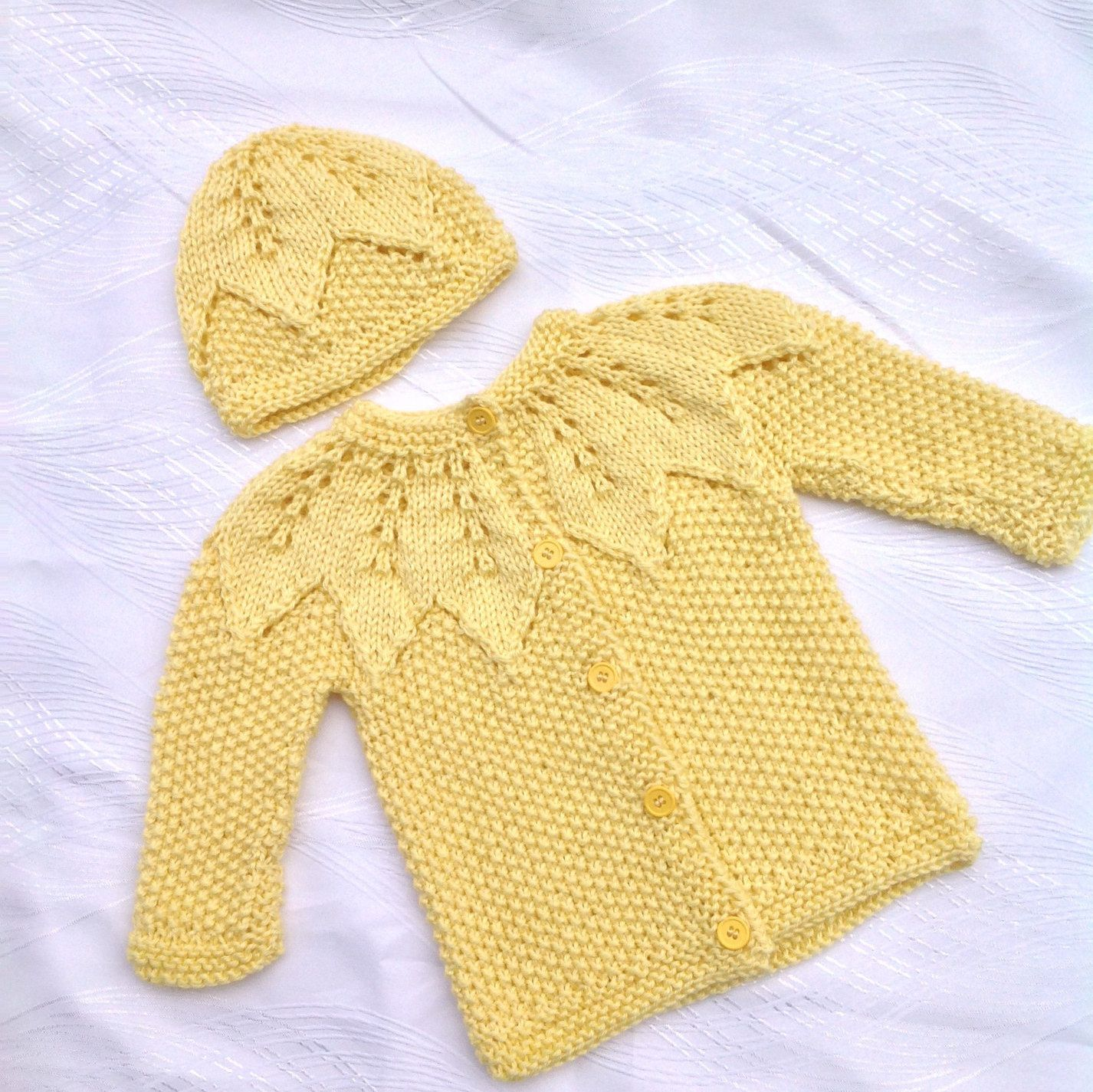 Yellow baby cardigan, knitted baby jacket, baby cardigan with ...