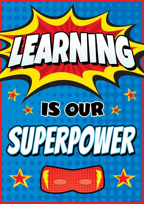 Learning Is Our Superpower Positive Poster Decoracion De Aulas Tema De Super Heroe Decoracion Sala De Clases