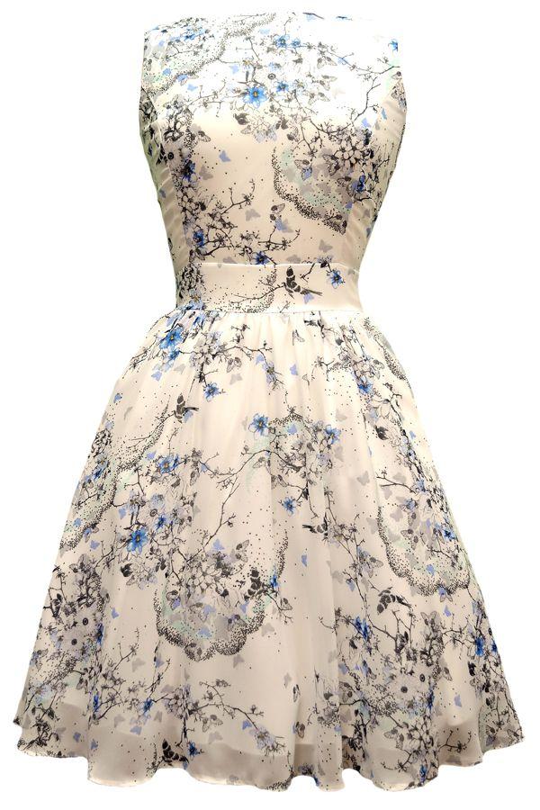 Ditsy White Butterfly Chiffon Tea Dress - Lady Vintage, London