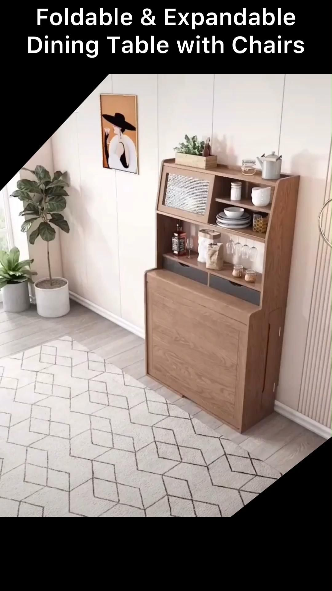 Foldable and Expandable Dining Table with Cabinet