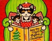 Night Before CHRISTMAS CAT & Kittens Folk Art PRINT - from Original Painting by Jill
