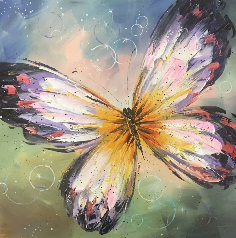 Colourful Butterfly Canvas Painting Hand Painted Modern Abstract