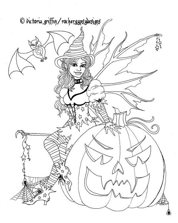 Halloween Coloring Page, Fairy Coloring Page, Printable Coloring ...