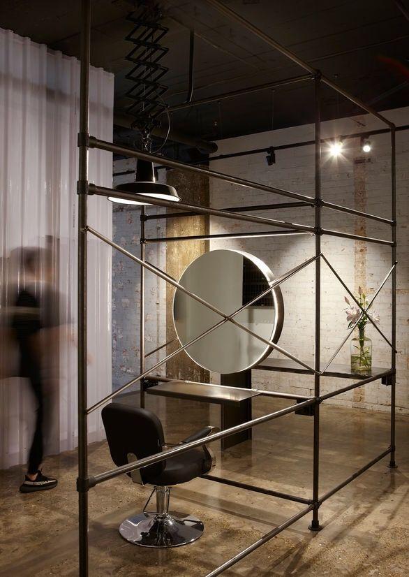 Industrial Hair Salon Round Mirror, Round Salon Mirrors With Lights