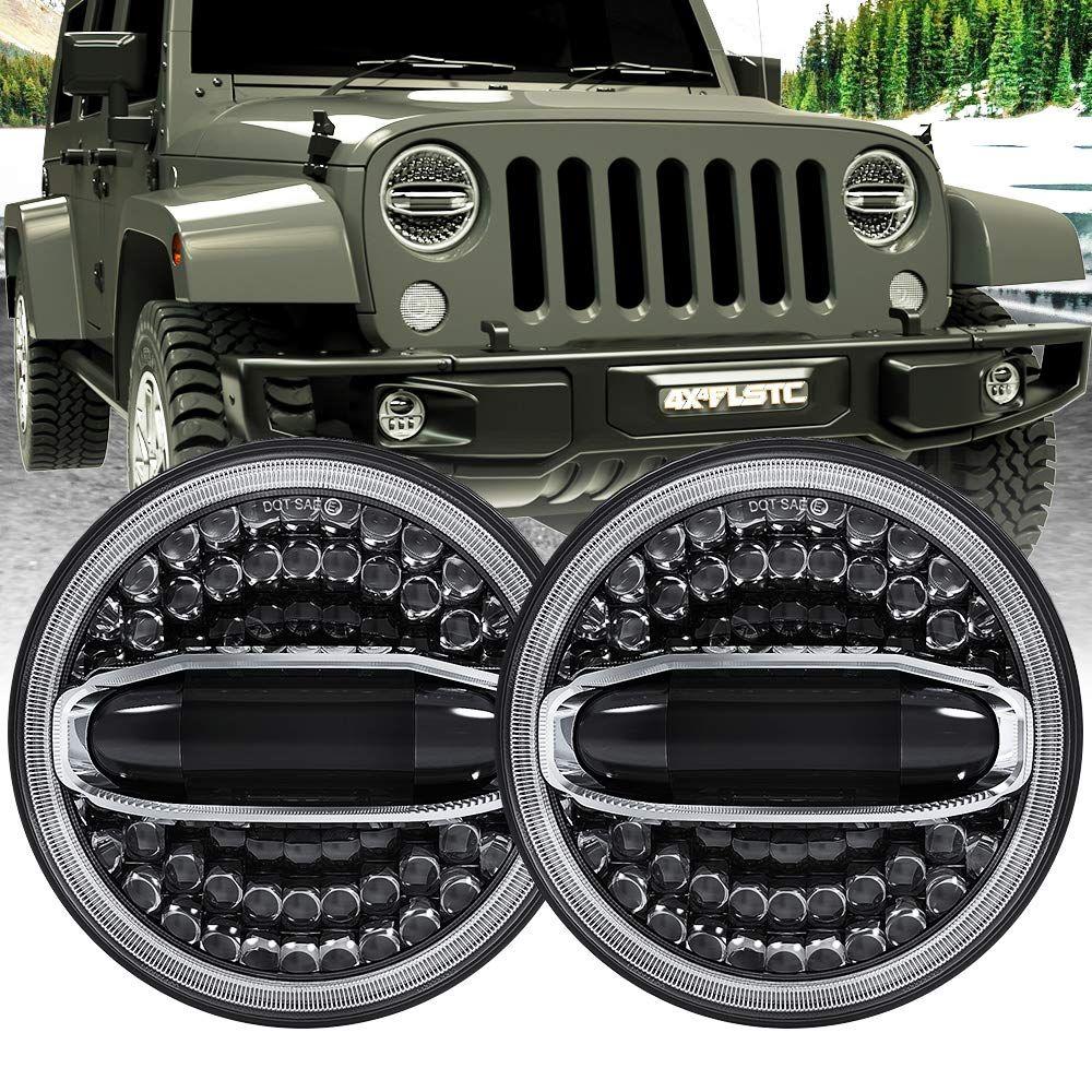 4x4flstc 7 Round Led Headlight High Low Beam For Jeep Wrangler Jk Tj Lj Cj Hummer H1 H2 1pair Want Additional Info Click On Th In 2020 Jeep Wrangler Jk Hummer H1