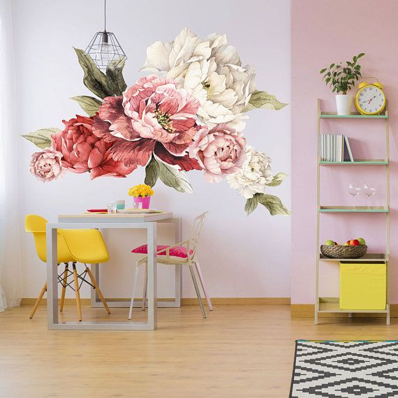 Giant peony wall stickers floral wall mural watercolor peony wallpaper mural peel