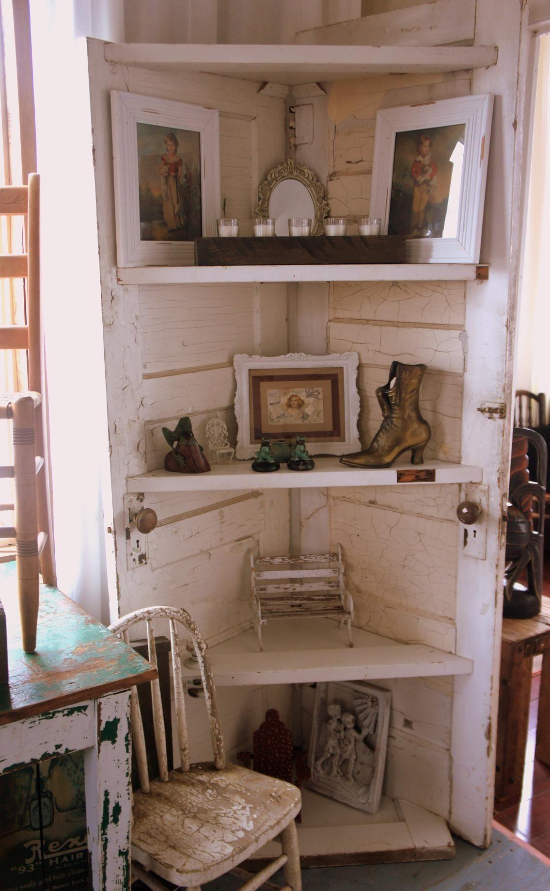 Corner Shelves made from old doors for