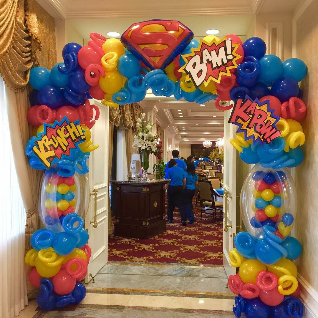 Super hero balloon arch party decoration ideas for Birthday balloon ideas