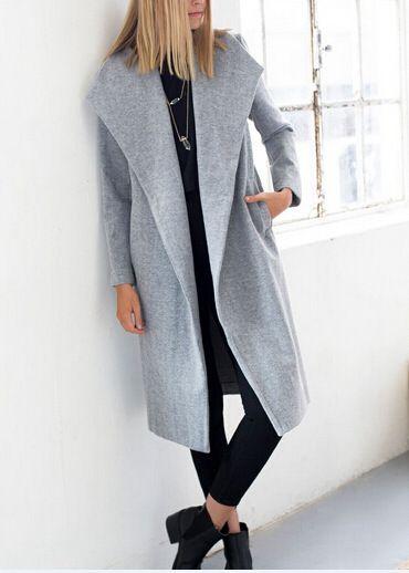 f8320c06232fc 2015 Hollywood style new winter women s designer grey wool coats in women  wool coat lapel jacket and long coat