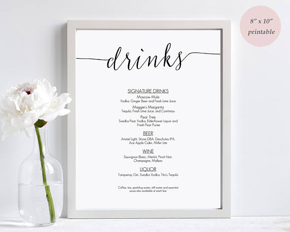Drinks Menu Template Printable  Wedding Bar Sign  Editable Pdf