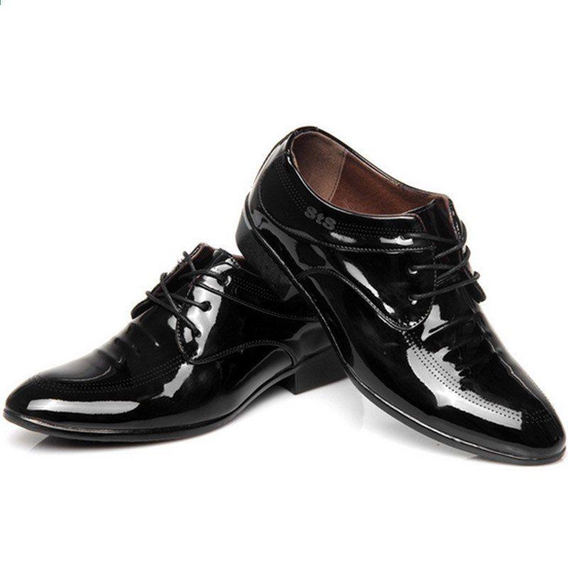 2017 Wiosna Nowy Nabytek Mody Meskie Buty Ze Skory Lakierowanej Sukienka Wskazal Toe Sznurowane Oddychajace Przypadkowi Pojedyncze Buty Shoes Sneakers Fashion