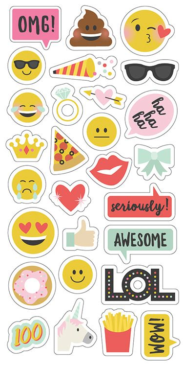 Simple Stories Emoji Love Collection Chipboard Stickers Printable Stickers Scrapbook Stickers Planner Stickers