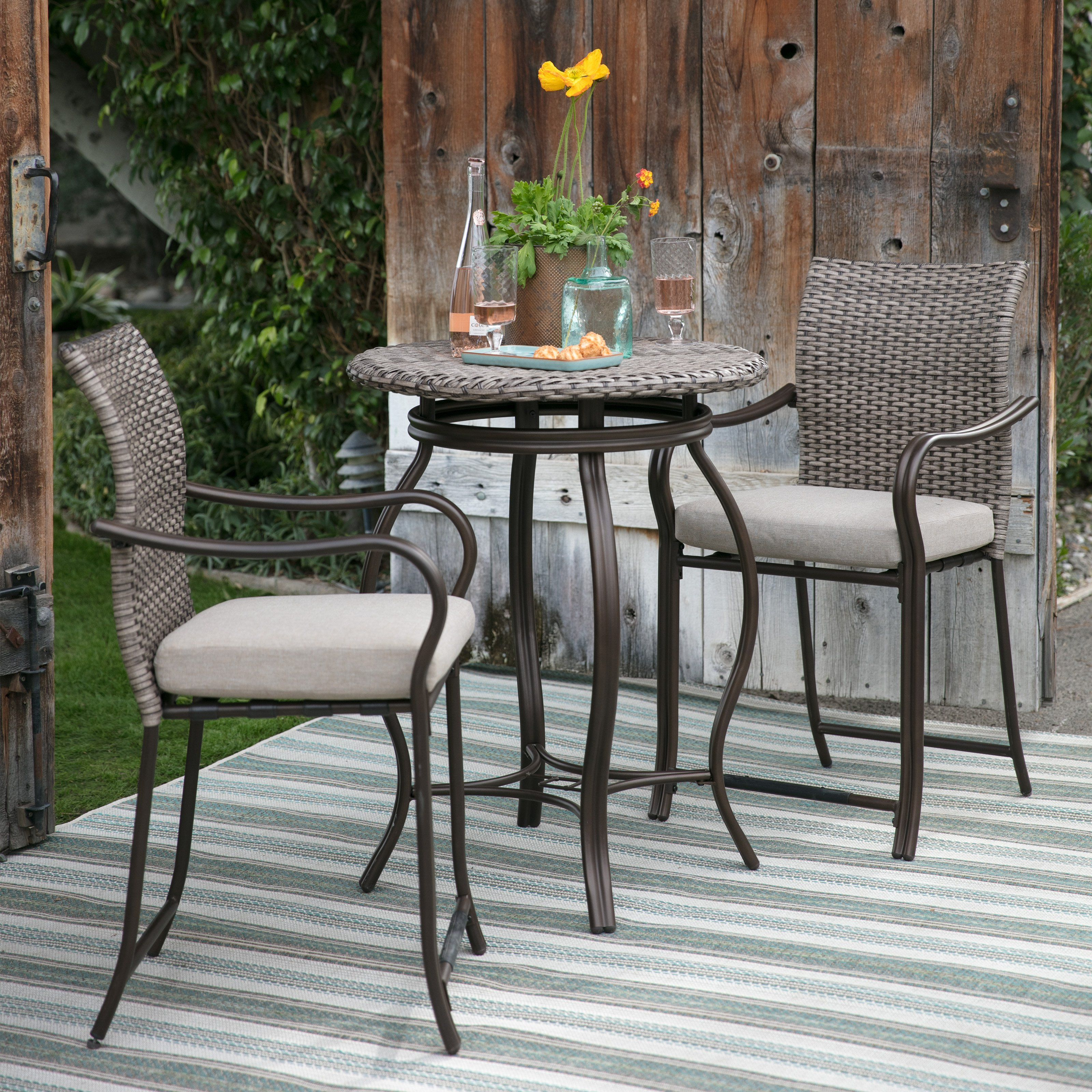 Coral Coast Palma All Weather Wicker Bar Height Bistro Dining Set