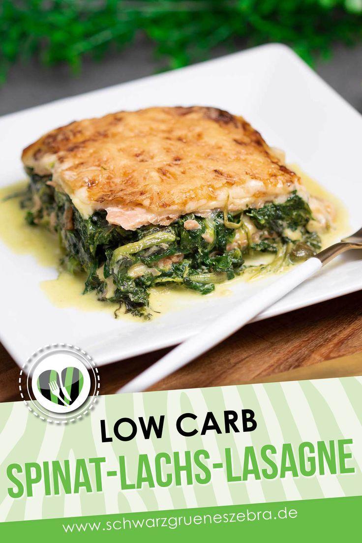 Spinat-Lachs-Lasagne mit Quarknudel-Platten - Low Carb - LCHF - Keto