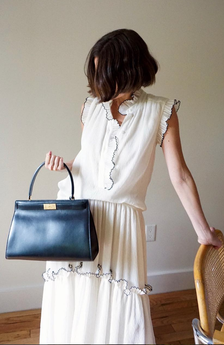 7b5a327c72  lifeofboheme in our Meredith dress and Lee Radziwill satchel  torystories