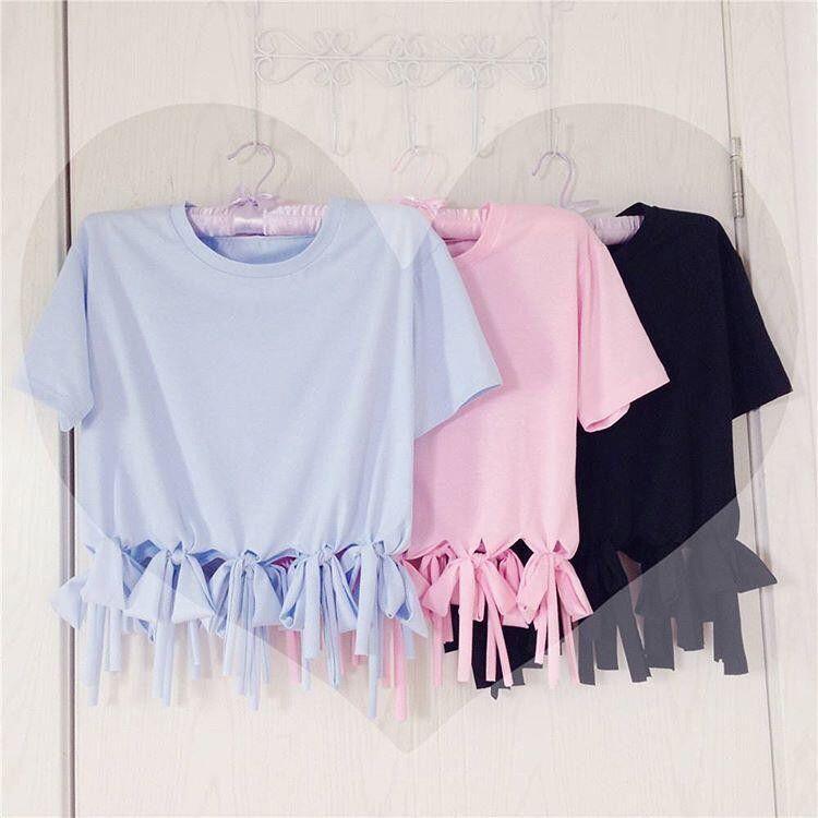 Blue/pink/black tassel t-shirt SE10147
