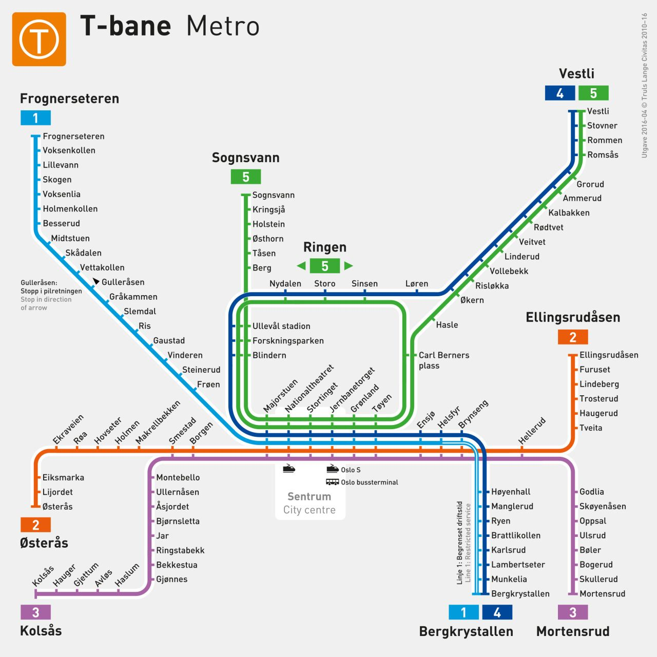 Submission Official Map T Bane Map Of Oslo Norway 2016 Oslo