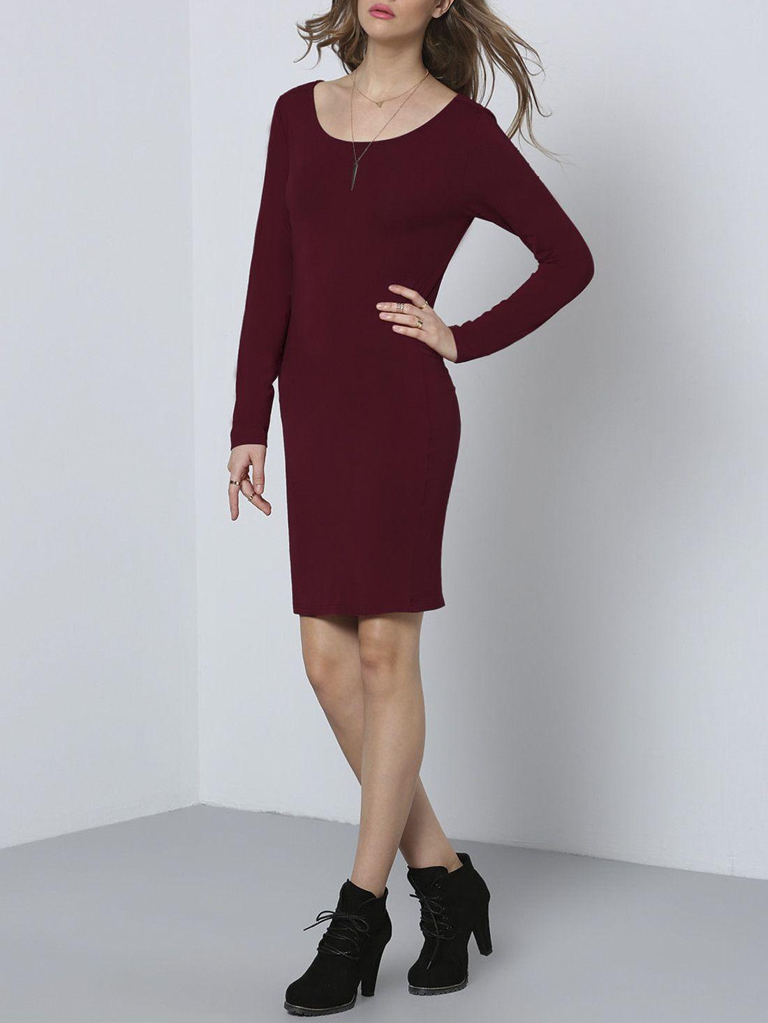 Vestido cuello redondo sin espalda-Sheinside