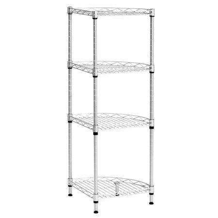 langria 4 tier corner wire shelving black heavy duty shelf rh pinterest com