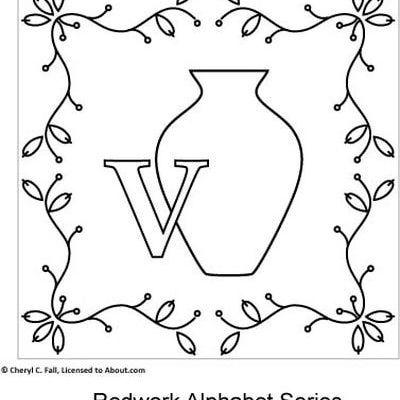 Additional Information V Is For Vase Redwork Children Pinterest