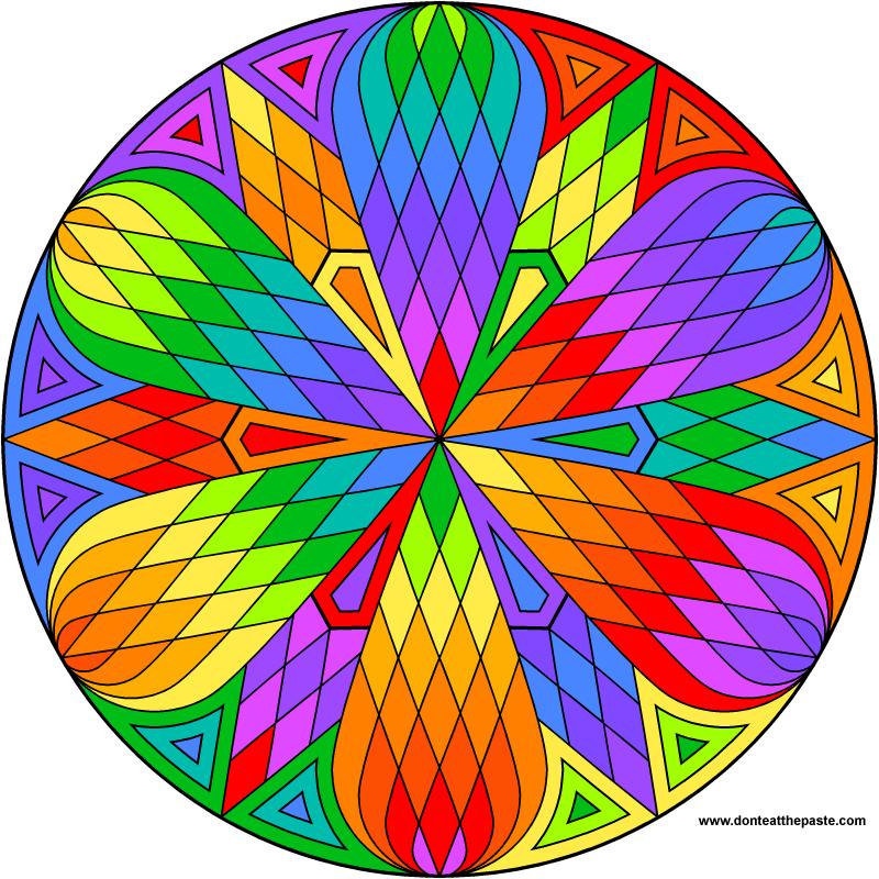 Lattice mandala to color Rainbows