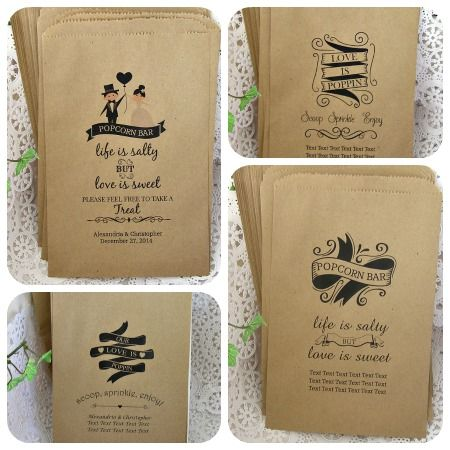 Custom And Personalized Popcorn Bar Bags For Wedding