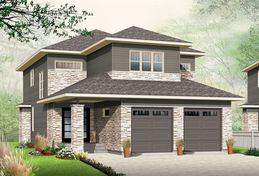 Narrow Lot Northwest House Plan 22406DR