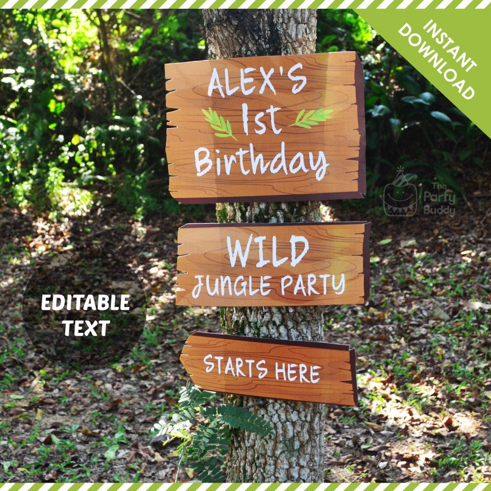 wording for party invitations uk%0A Jungle Party Sign EDITABLE Text   Wood Like Pattern Signage DIY Digital  Printable PDF   Instant