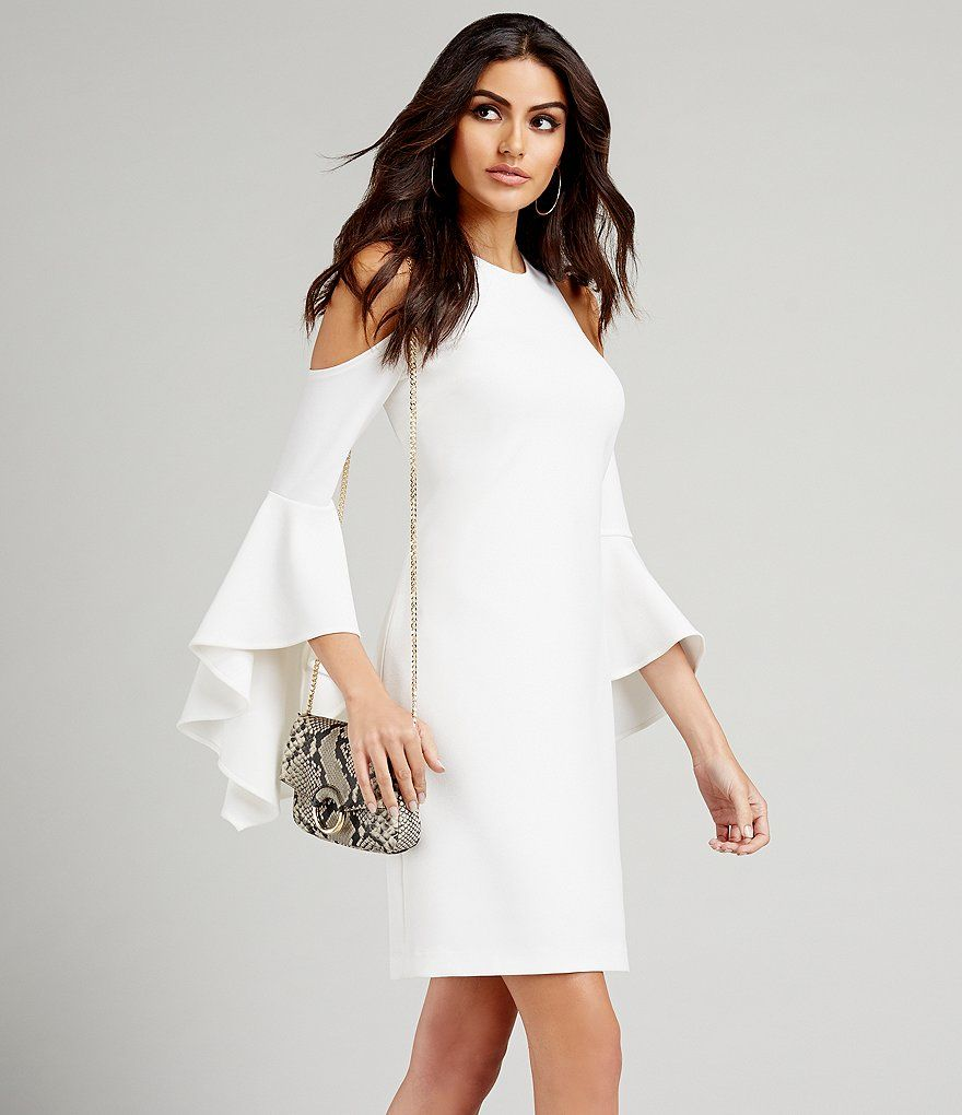 55a31e6652372 Ivory:Vince Camuto Ruffled Bell Sleeve Cold Shoulder Dress | Style ...