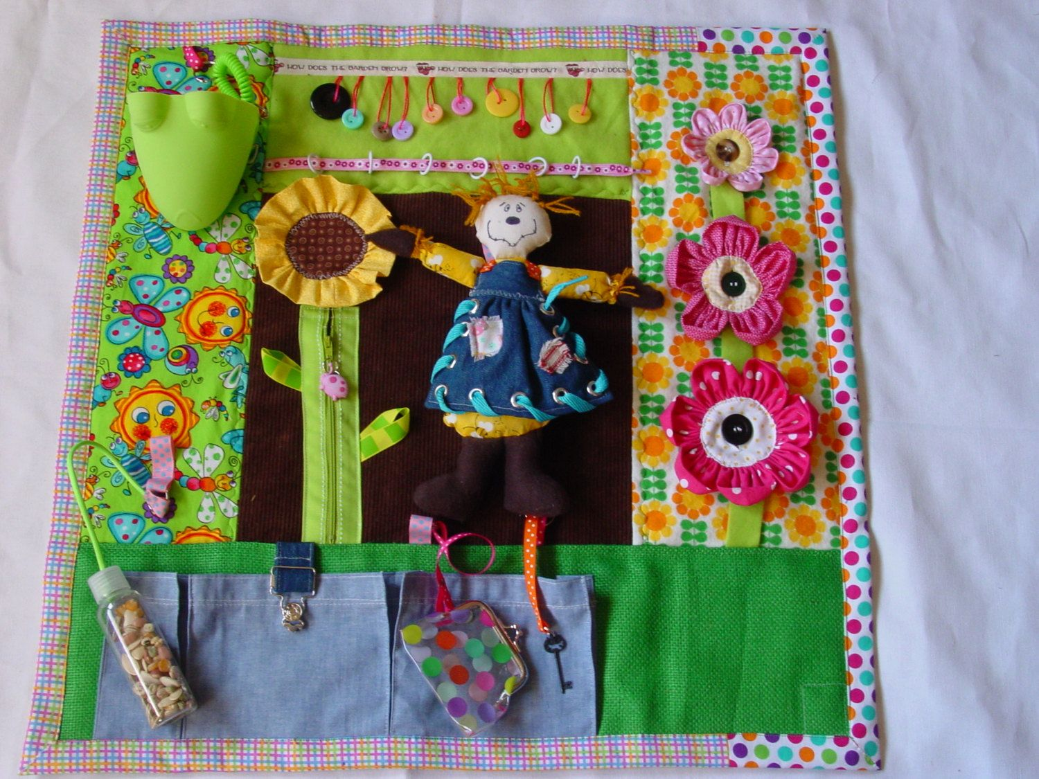 Bright And Bold Gardener Fidget Quilt Tactile Bright