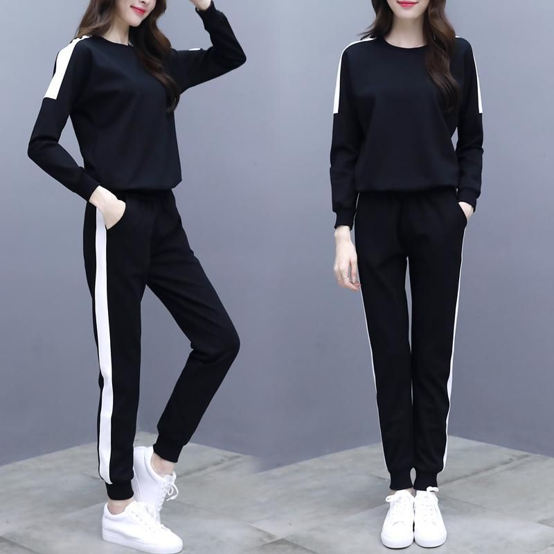e8912036208 Black Two Piece Set Tracksuit Women Casual Patchwork Pullovers And Pants  2pcs Sweatshirts 2018 Autumn Female Loose Sporting Suit