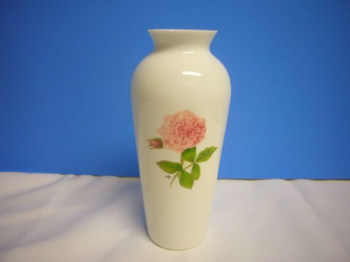 White Glass Vase Collectible Pink Floral Marjolein Bastin Hallmark Decorative