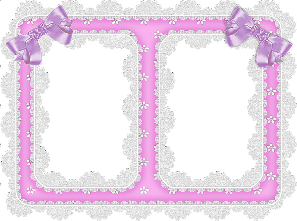 White Lace and Purple Ribbon Transparent Frame   Marcos ...